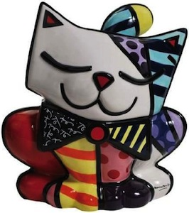 Colorful cat cookie jar