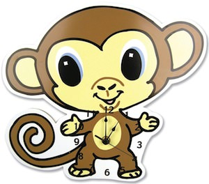 kids Monkey wall clock